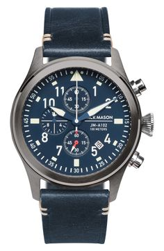 Main Image - Jack Mason Aviation Chronograph Leather Strap Watch, 42mm