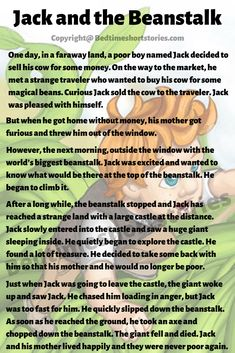 This is the Jack And The Beanstalk Story for kids. Full story in the link above, read now. English Story Books, English Stories For Kids, Short Stories For Kids, Learn English Words, English Reading, English Class, English Grammar, Good Bedtime Stories, Harmony Art
