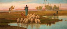 The Athenaeum - Shepherdess and Her Flock at a Pool Left by the Subsiding of the Overflow of the Nile (Frederick Goodall - )