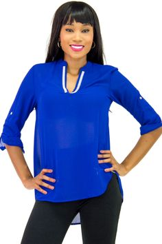 V-Neck 3/4 Sleeve Jewel Embellished Blouse Top $12.99 | Danice Stores