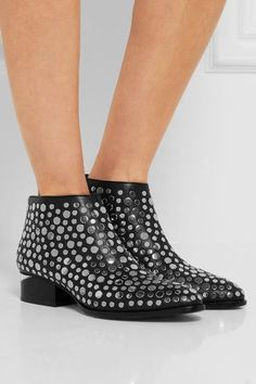 Alexander Wang - Kori Cutout Studded Leather Ankle Boots - Black - IT