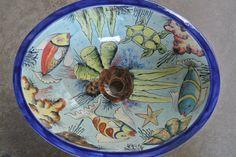 Hand painted under the sea theme ceramic tile sink. mexicanarttile.com