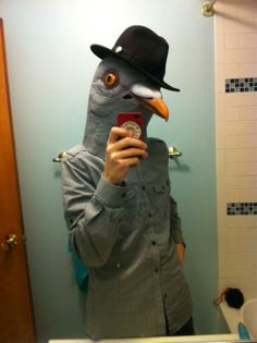 Youtumall Latex Pigeon Head Mask:Wear Hat Pigeon Mask