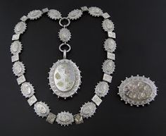 Stunning Victorian silver demi parure