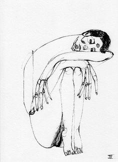 Black Ink on Behance Creepy Art, Weird Art, Drawing Sketches, Art Drawings, Kunst Tattoos, Posca Art, Arte Sketchbook, Psychedelic Art, Surreal Art
