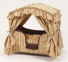 Is it wrong for me to want the best for my pet. like this pretty canopy bed? Puppy Beds, Pet Beds, Doggie Beds, Doggies, Designer Dog Beds, Designer Dog Clothes, Diy Dog Bed, Love Your Pet, Furniture Styles