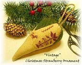 Beautiful Vintage Motif Christmas Strawberry Ornament Ornie Pinkeep Collectible Keepsake SOCOFG