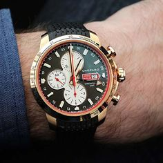 The @chopard Mille Miglia Chronograph, in rose gold. #watchtime #luxurywatch #chronograph
