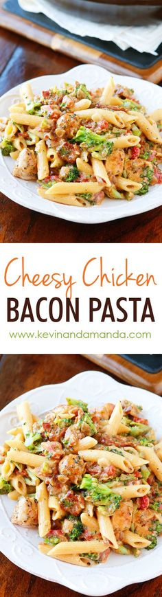 This is like an ultra creamy, cheesy broccoli soup with bacon, chicken, and pasta!! Seriously what on earth could be better? Cheesy. Bacon. Pasta. Need I say more??