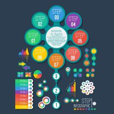 Colorful infographic graph collection Free Vector