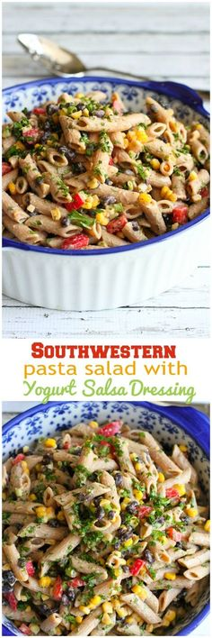 Southwestern Pasta Salad with Yogurt Salsa Dressing…A fantastic vegetarian side dish or entrée!  166 calories and 4 Weight Watchers PP   cookincanuck.com #healthy #recipe