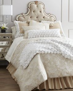 """Rosette bed scarf and shams...""""Chantilly"""" Bed Linens by Dian Austin Couture Home at Horchow."""