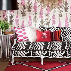 Wood-Framed Sofa After - Southern Living, Furbish Studio, mudcloth fabric, foxglove wallpaper, jamie meares, ikat pillow, monogrammed pillow, kilim fabric pillow, madeline weinrib rug, #daretomix