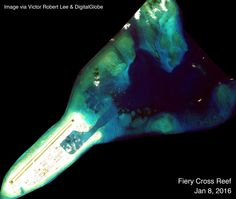 Fiery Cross harbor approach and reef dredging patterns. Spratlys, South China Sea. Article by Victor Robert Lee.