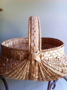Vintage Hand Woven Oak  Basket by JunkyardGenes on Etsy, $45.00