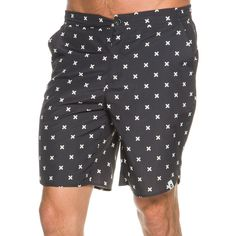 ourCaste Calvin boardshorts.       Men's boardshorts.       Constructed from lightweight nylon with DWR coating to repel water.       Allover plus sign pattern.       Slant side pockets with mesh lining.       Zip pocket at back right.       Batwing fly with button closure.       Elastic at side of waistband and internal waist drawstring for a secure and comfortable fit.   Brand label at bottom of left leg.       Outseam: 19 inches.       100% Nylon.       Imported.       Vendor style #: ...