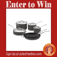 Facebook Twitter PinterestEnter to win a Williams-Sonoma 10 Piece Nonstick Cookware Set! 10 winners on this one! Ends on May 5, 2016. ENTER HERE