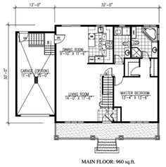 First Floor Plan of Cape Cod   House Plan 48171