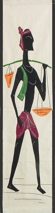 Villager Carrying Baskets to Market - (Wall Hanging) (Applique Work on Cotton Cloth)