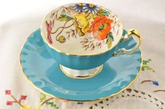 Aynsley tea cup and saucer/ blue tea cup/ hand painted tea cup