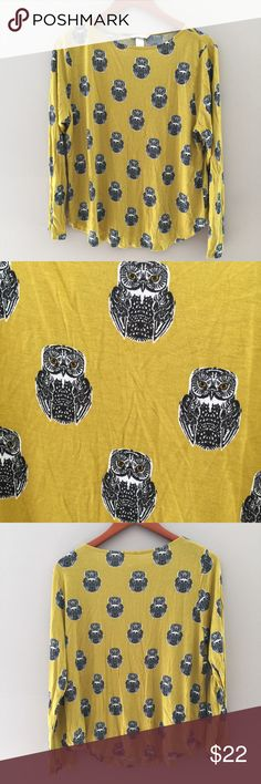 "H&M long sleeved Owl Print Top Mustard color with black Boho owl print. 100% Viscose. Flat bust measurement 21"", length 24"" H&M Tops"