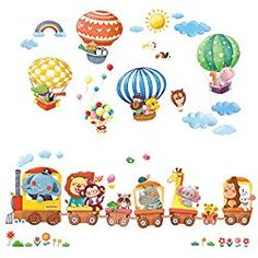 Shop for DECOWALL Animal Train & Hot Air Balloons Kids Wall Stickers Wall Decals Peel Stick Removable Wall Stickers Kids Nursery Bedroom Living Room (XLarge) online - Theeasytopbuy Wall Sticker Design, Nursery Stickers, Nursery Wall Stickers, Removable Wall Stickers, Kids Wall Decals, Wall Decal Sticker, Balloon Wall, Hot Air Balloon, Elephant Decoration