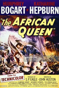 A poster for John Huston's 1951 adventure film 'The African Queen', starring…