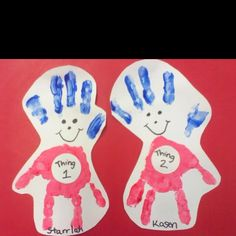 Thing 1 and thing 2 hand prints!