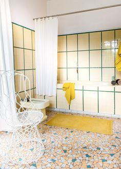 Retro bathroom with patterned wall and floor
