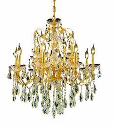 Pretty Gold Crystal Chandelier
