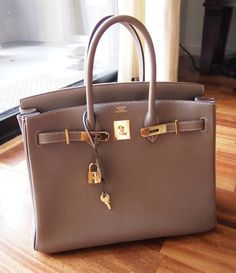 Hermes Birkin in Etoupe w/ gold hardware... Oh, I wish! :)#Repin By:Pinterest++ for iPad#