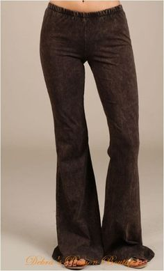 Chatoyant Mineral Wash Bell Bottom Soft Pants - Brown - Debra's Passion Boutique - 1