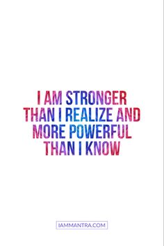 Today's Mantra: I AM stronger than I realize and more powerful than I know. ✨✨✨✨✨✨✨✨✨✨✨ #iam #mantra #iammantra #blacklivesmatter #todaysmantra  #dailymantra  #love #lawofattraction  #transformation  #inspiration #positive #positivevibes   #affirmation  #meditation  #prayer  #empowerment   #zen  #selfcare  #selflove  #yoga Positive Affirmations Quotes, Morning Affirmations, Affirmation Quotes, Positive Quotes, Motivational Quotes, Inspirational Quotes, Inspiring Things, Inspiring Quotes About Life, Meditation Prayer