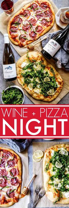 Learn how to host a wine & pizza party at home with these two simple pizza recipes. One features salami, jalapeno & honey and the other is a white pizza topped with goat cheese & arugula salad.