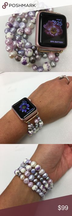 Apple Iwatch Band Freshwater Pearl 38mm or 42mm This is a natural freshwater pearl bracelet for a 38 or 42mm Apple Watch. The band is elastic and will stretch and conform to your wrist. There are fasteners on the ends to ensure the stability of the bracelet. Can come with different adapters to match your Apple Watch - silver, rose gold, and black.  The colors of the pearls range and I Can make in any assortment of colors or pearls, pink, white, dark purple, light purple, deep blackish opal…