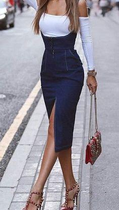 low cut jean dress with white undershirt Denim Fashion, Look Fashion, Korean Fashion, Womens Fashion, Fashion Design, Fashion Ideas, Mode Outfits, Skirt Outfits, Classy Outfits