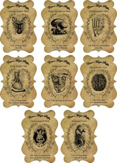 Halloween Steampunk Apothecary Bottle Stickers Set of 8 Scrapbooking Crafts | eBay