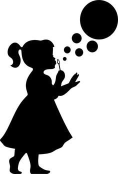 Imgs For > Silhouette Little Girl Blowing Bubbles Blowing Bubbles, Girl Silhouette, Silhouette Portrait, Silhouette Images, Ballerina Silhouette, Kids Wall Decor, Crayon Art, Paper Art, Coloring Pages