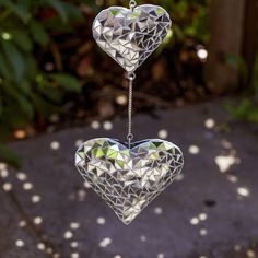 Hanging Silver Mirror Mosaic Duo Heart Ornament for The Garden or for sale online Wind Chime Parts, Wind Chimes For Sale, Wind Chimes Sound, Wind Chimes Craft, Garden Decor Items, Mirror Mosaic, Heart Ornament, Garden Ornaments, Suncatchers