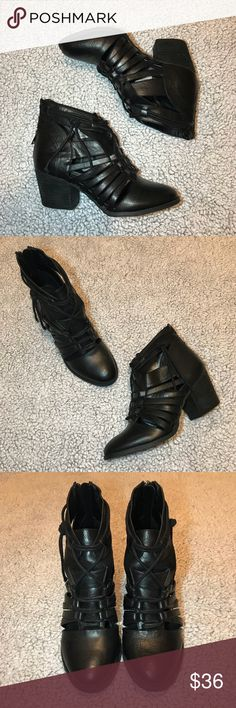 """Not Rated Rusted Roots Cut Out Booties Black cut out ankle booties from Not Rated! The stacked block heel is 2.5"""". They have only been worn a handful of times and are still in very good condition with plenty of life left in them. There are zippers in the back that make them very easy to take on/off. Selling because they don't get worn enough! Not Rated Shoes Ankle Boots & Booties"""