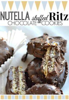 Nutella Stuffed Ritz Cracker Chocolate Candy Cookies   Fun #Thanksgiving Dessert Candy Treat