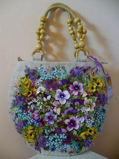 Вышивка лентой. Женская сумка своими руками.