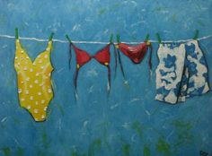 Drunken Cows - Whimsical Fine Art by Roz Laundry Art, Laundry Room, Clothes Line, Whimsical Art, How To Memorize Things, Sculptures, Old Things, Fine Art, Portrait