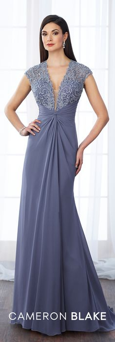 Formal Evening Gowns by Mon Cheri - Fall 2017 - Style No 217648 - periwinkle lace and chiffon A-line evening dress with illusion lace cap sleeves