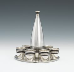 Art Deco/Machine Age style Russian Silver Cordial Set