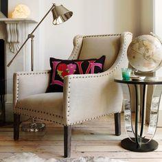 Natural Linen Studded Armchair by Graham & Green