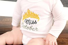 Miss Birthday Month Embroidered Princess Bling Onesie - Made to Order - 0-3M through 12-18M -Great Baby Gift on Etsy, $20.00