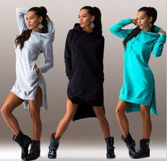 2017 Autumn Winter Women Long Hoodie Dress Short Front Long Back Loose Pullover Casual Long Sweatshirt Hooded Dress Long Hoodie Dress, Hooded Dress, Sweatshirt Dress, Dress Long, Jumper Dress, Hooded Sweater, Cropped Hoodie, Hoodie Jacket, Sweat Dress