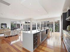 Modern kitchen-dining kitchen design using floorboards - Kitchen Photo 16020629