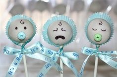 Cake pops- I need these for the boys baby shower! Lol Cake pops- I need these for the boys baby shower! Baby Shower Cupcakes For Girls, Baby Shower Treats, Baby Shower Cake Pops, Pop Baby Showers, Baby Shower Favors, Baby Shower Parties, Baby Shower Gifts, Baby Cake Pops, Baby Boy Cakes